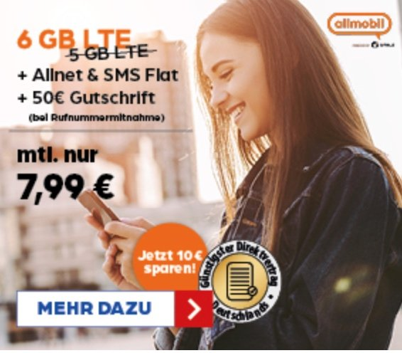 allmobil Flat L Tarif (Allnet & SMS-Flat, 6GB LTE, D2 Netz) + 50€ Gutschrift (Rufnummermitnahme) für 7,99€ mtl.