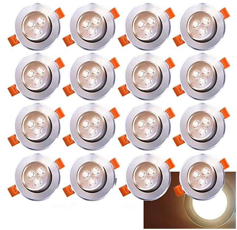20er Pack Hengda LED Einbaustrahler (Einbau-Spots, Schwenkbar, 3W, A++) für 25,19€