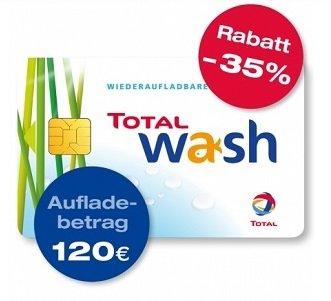 Bis zu 35% Rabatt auf Total Waschkarten - z.B. 120€ Guthaben für 78€