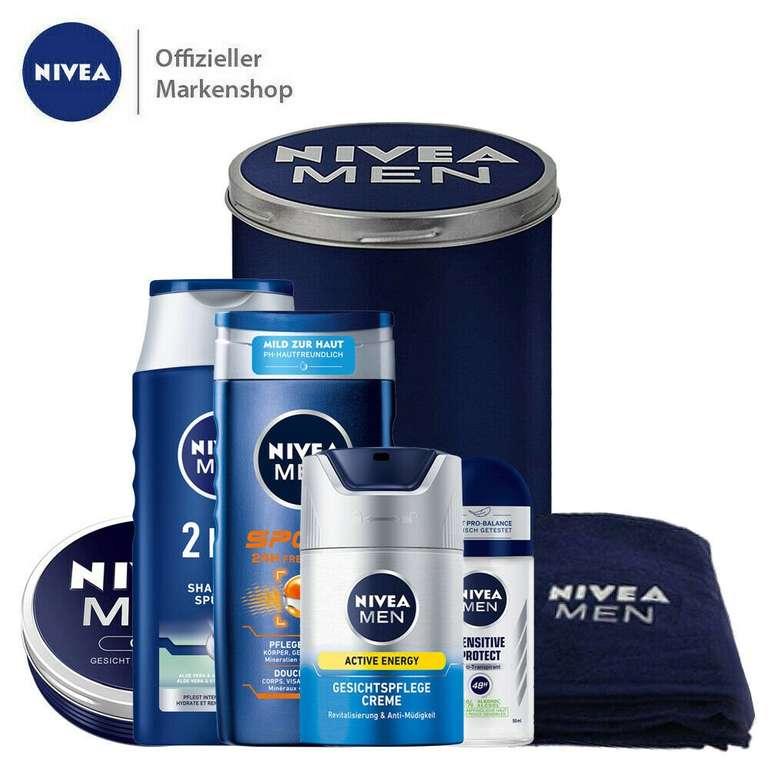 Nivea Men Geschenkset 7tlg. (Gesichtscreme, Shampoo, Duschgel, Deo, Handtuch & Dose) für 15,99€ inkl. Versand