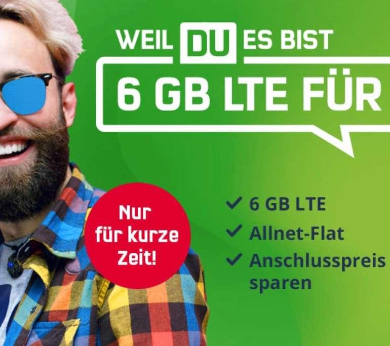 Nur bis 23:59 Uhr! SIM-only: Mobilcom Vodafone green Allnet Flat mit 6GB LTE (bis zu 50 Mbit/s) für 5,99€ mtl.