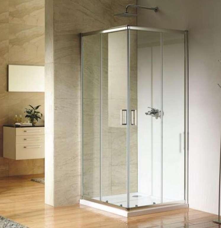 toom: Paola Duschkabine mit Eckeinstieg und Schiebetüren (90 x 90 cm, Sicherheitsklarglas) für 199,94€