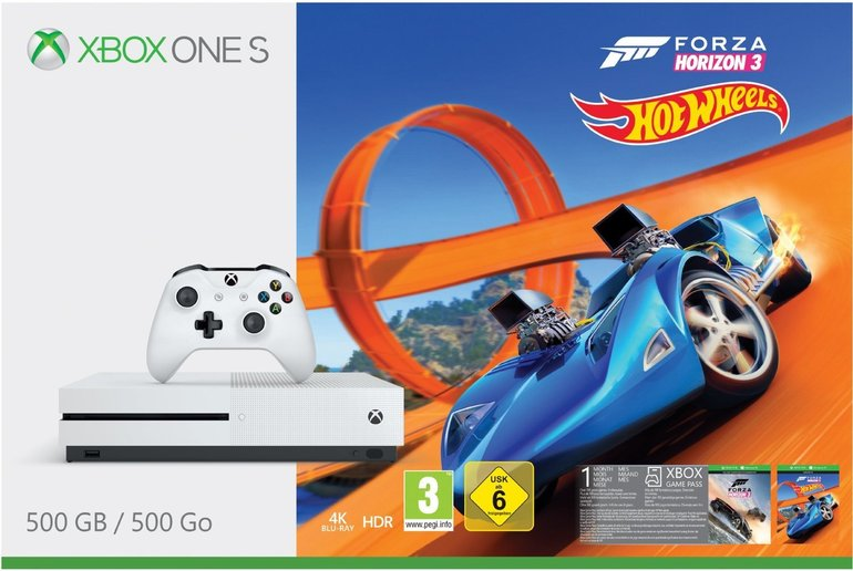 Xbox One S 500GB Forza Horizon 3 Hot Wheels + FIFA18 + 2. Controller 249€