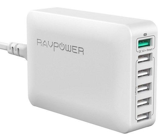 RAVPower 6-Port 60W USB Ladegerät mit Quick Charge 3.0 für 18,89€ - Prime!