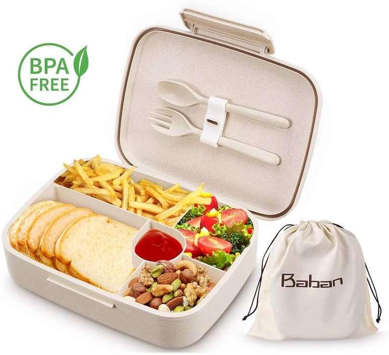 Baban Bentobox - Brotdose mit Löffel + Gabel aus Weizenstroh für 15,59€ (Prime)