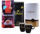 Exklusives Geschenkpaket Kaffeebohnen (2 kg) + Dose & 2 Kaffeetassen für 29,99€