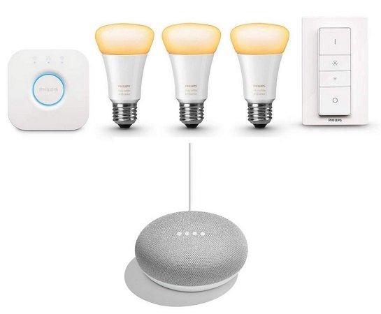 Philips Hue White Ambiance Starter Kit E27 + Google Home Mini für 119€