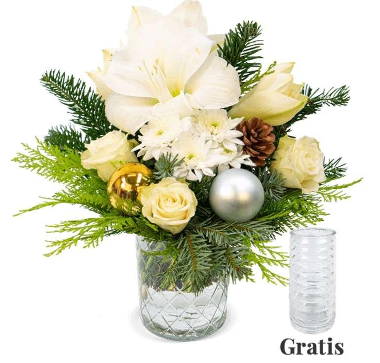 """Blumenstrauß """"Weiße Weihnacht"""" + gratis Vase für 24,98€ inkl. Versand (statt 27€)"""