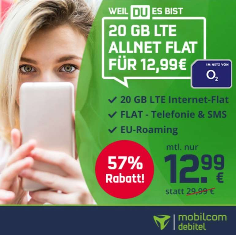 SIM-only: o2 free M Allnet- und SMS-Flat mit 20GB LTE (VoLTE und WLAN Call) für 12,99€ mtl.