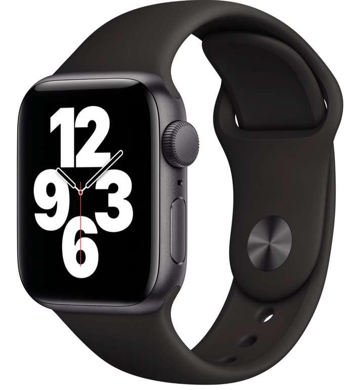 Apple Watch SE (40 mm, GPS) in schwarz/grau mit Sportarmband für 269€ (statt 286€)