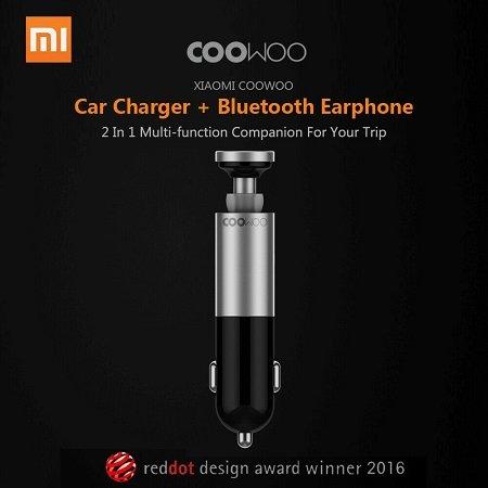 Xiaomi CooWoo Car Charger + Bluetooth Earphone für 23,40€ (statt 28€)