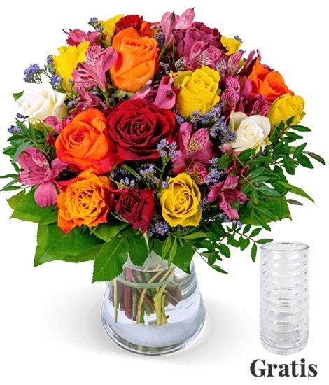 Rosenstrauß Farbtraum + Vase für 24,98€ inkl. Versand (statt 35€)