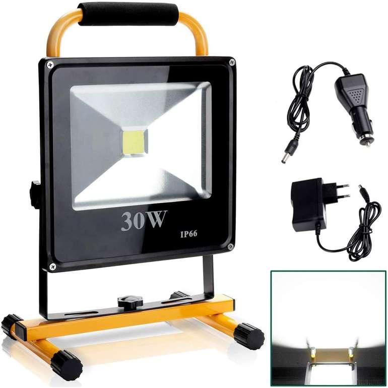 Verschiedene Hengda kaltweiße LED Akku Strahler reduziert, z.B. 30W für 15,99€