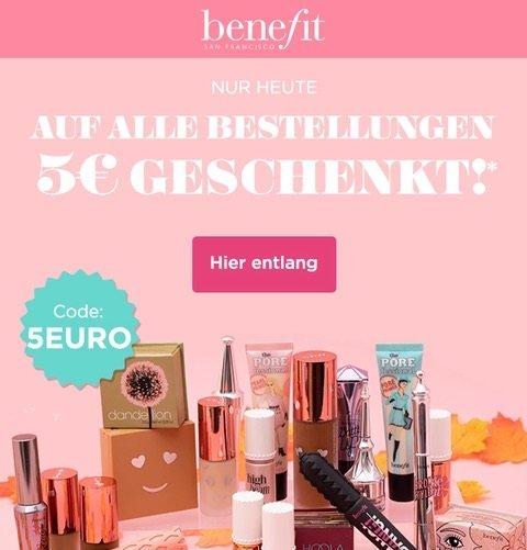 Benefit Cosmetics: 5€ Rabatt auf Alles ab 39€ Bestellwert + VSKfrei ab 19€