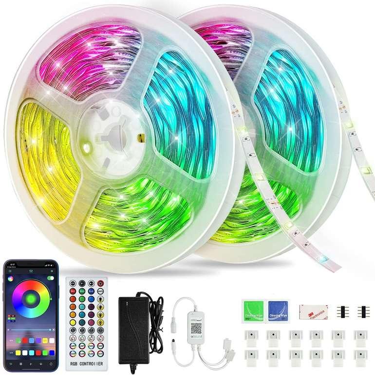 Aonor LED Streifen (20m, Musik Sync, dimmbar, Fernbedienung o. App) für 19,99€ inkl. Prime-Versand (statt 40€)