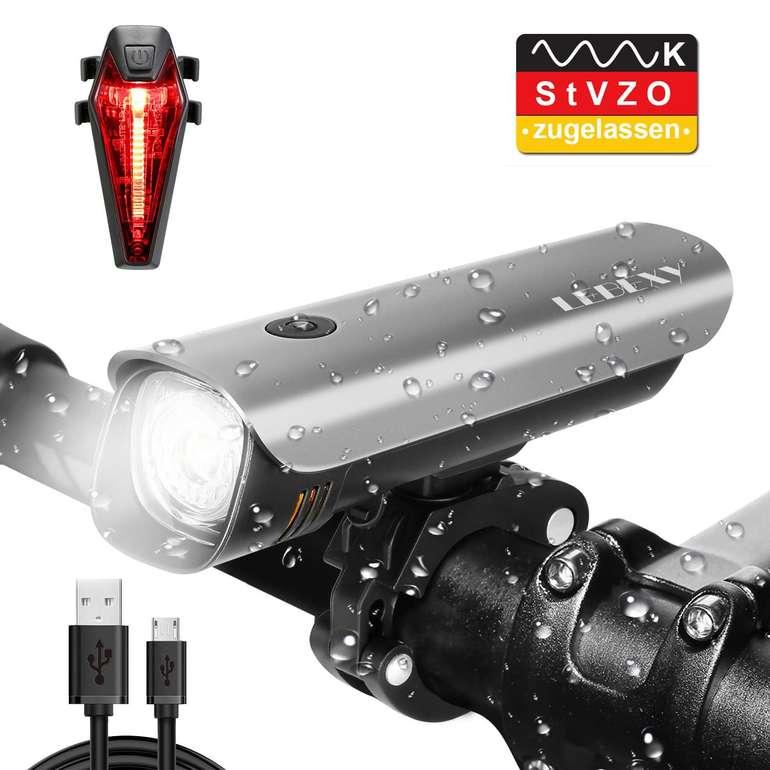 Lebexy Fahrradbeleuchtung mit Akku (Front-& Rücklicht) für 15,99€ inkl. Prime VSK