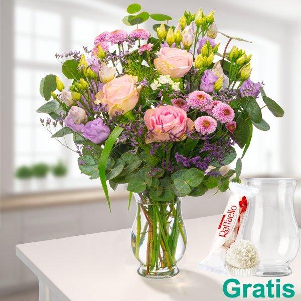 Exklusiv: 5€ Nachlass ab einem Bestellwert von 25€ bei FloraPrima - z.B Wiesenstrauß Blütenfreude mit Vase für 26,69€