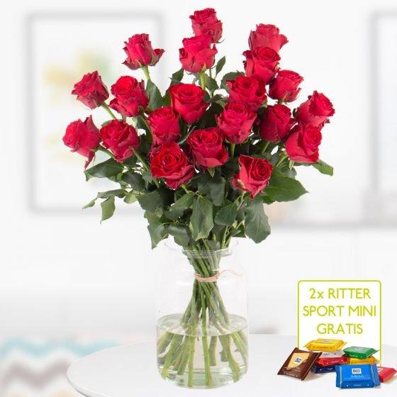 20 Rote Premium-Rosen Rhodos (60cm) + 2 gratis Mini-Schokis für 24,99€