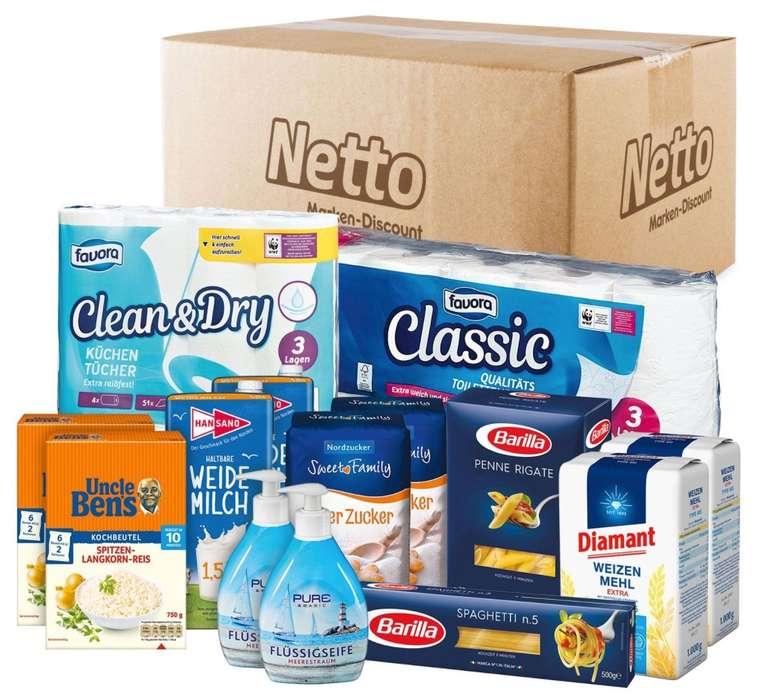 Rundum-Sorglos-Paket mit Masken, Zucker, Mehl, Reis, Pasta, Milch, Klopapier und Flüssigseife für 24,95€