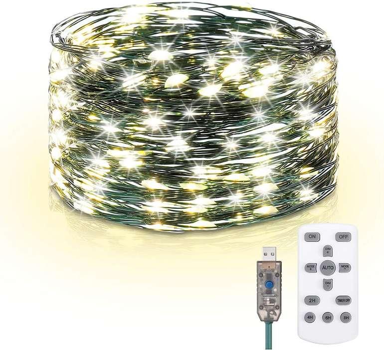 Elfeland 15m LED Lichterkette (8 Modi, IP65) für 6,49€ inkl. Prime Versand (statt 13€)
