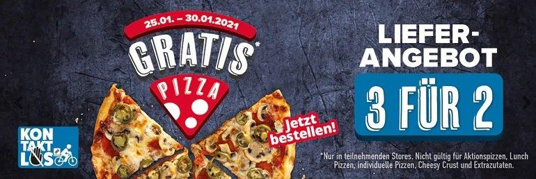 Dominos 2 Pizzen zum Preis von einer bei Abholung