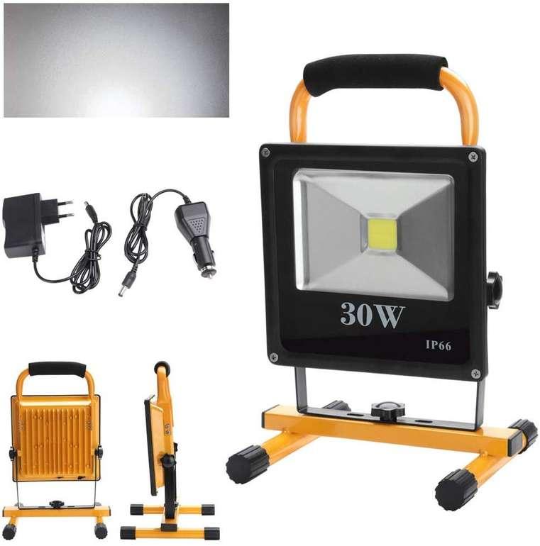 Verschiedene Hengda kaltweiße LED Akku Strahler reduziert, z.B. 30W für 21,44€