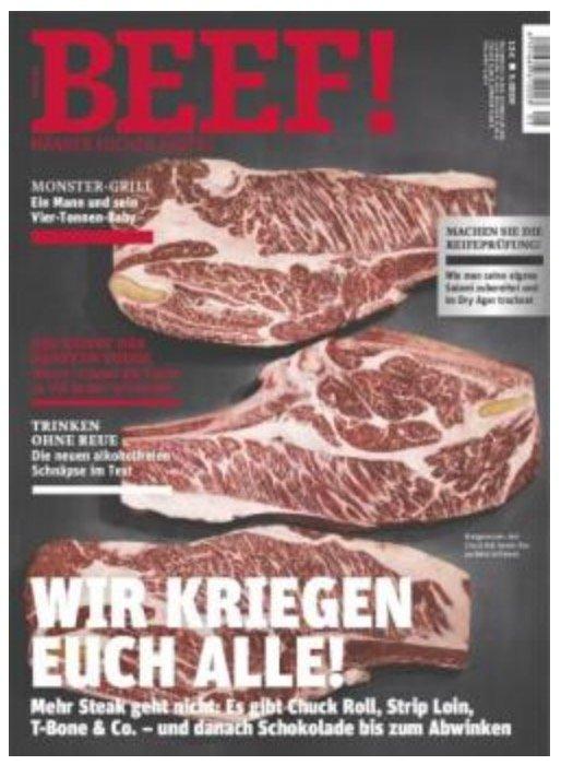 BEEF! - 6 Ausgaben des Koch-Magazin's für Männer nur 72€ + 40€ Amazon.de Gutschein