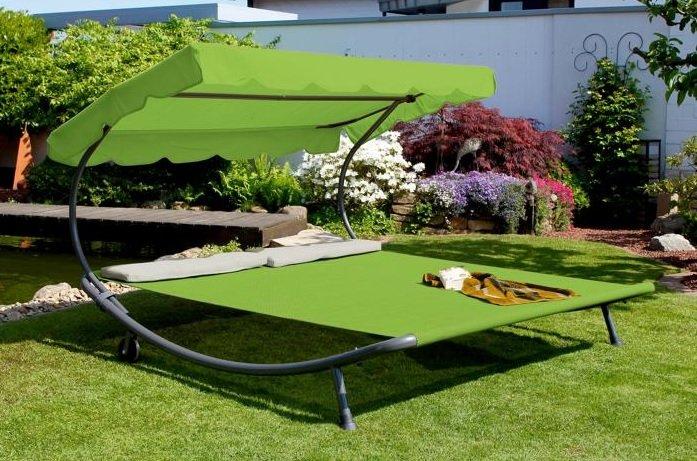 Leco Gartendoppelliege mit Dach grün (200 x 200 x 110 cm) für 99,99€ inkl. Versand (statt 129€)