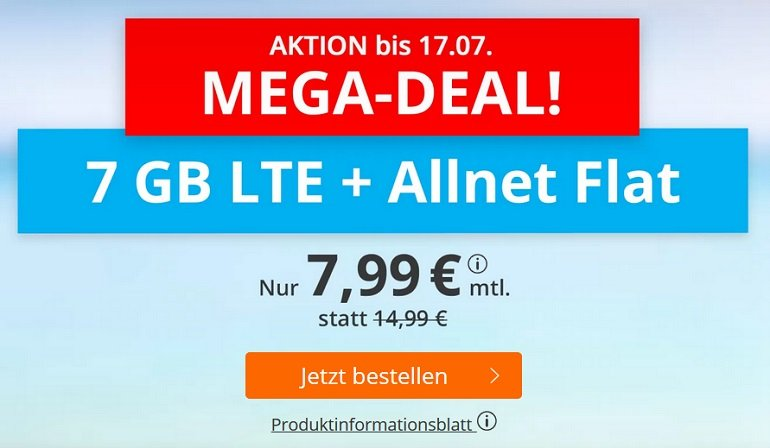 Sim.de o2 AllNet-Flat mit 7GB LTE Datenvolumen