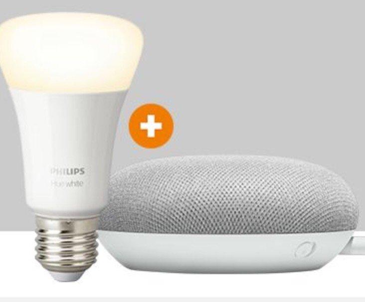 Google Home Mini + Philips Hue E27 White LED für 39€ inkl. Versand (statt 57€)