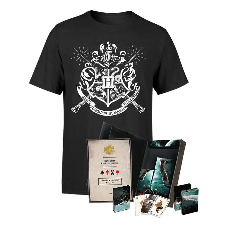 Harry Potter 8x Spielkarten Ltd. Edition Set + T-Shirt für 24,48€ (statt 40€)