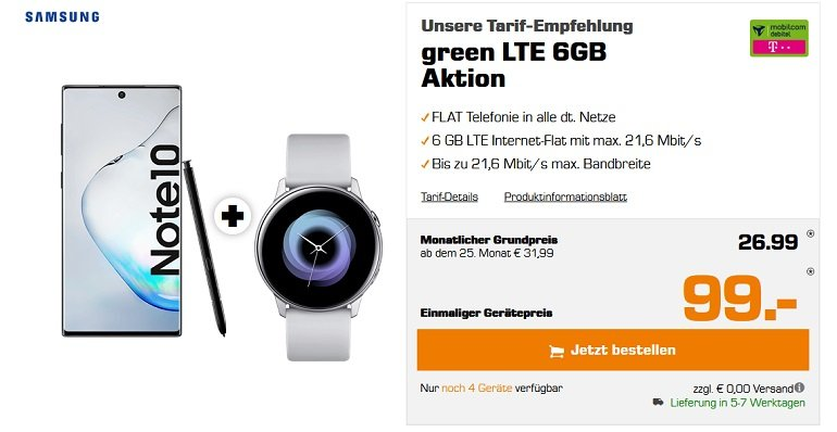 Samsung Galaxy Note 10 Telekom Allnet Flat 6GB LTE Active Watch Buds 2