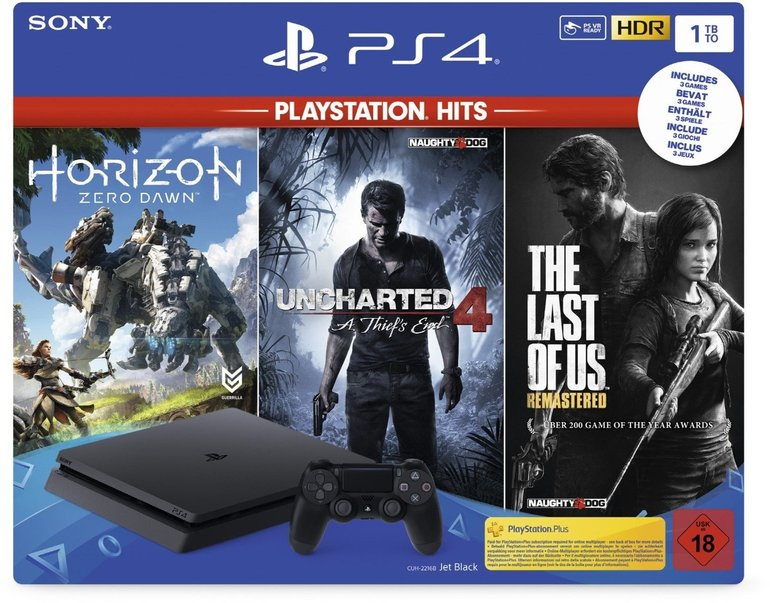 PS4 Slim mit 1TB + Uncharted 4 + The Last of Us + Horizon Zero Dawn für 264€