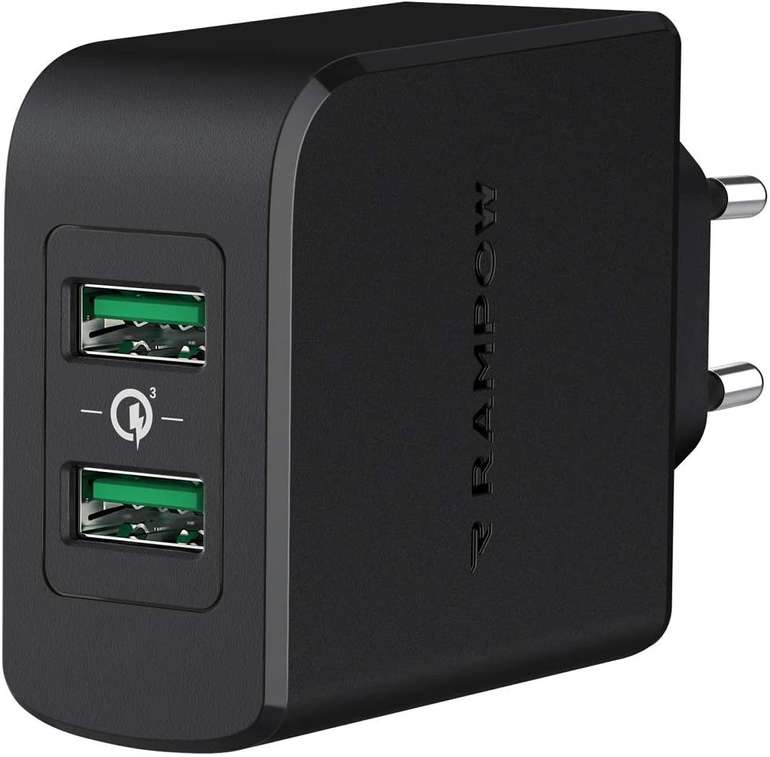 Rampow 39W USB Ladegerät mit Quick Charge 3.0 für 10,19€ inkl. Prime Versand (statt 17€)