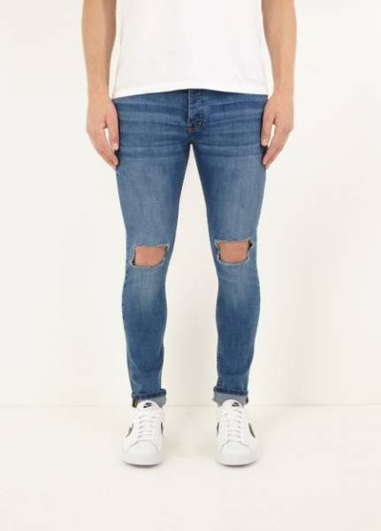 Brave Soul Crofton Stretch Skinny Herren Denim Cut Out Jeans für je 18,09€