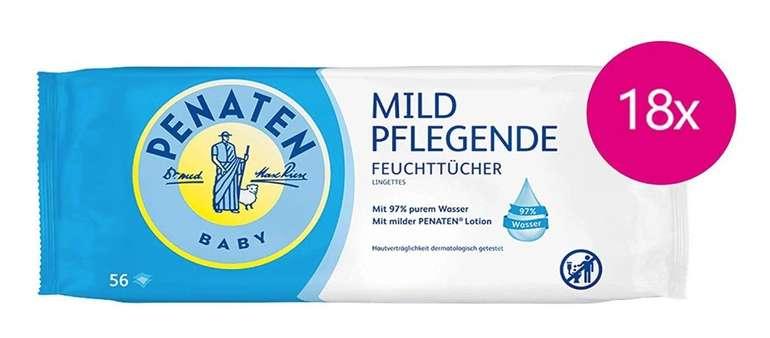 18er Pack Penaten Mild Pflegende Feuchttücher (parfümfrei, 18 x 56 Stück) ab 5,51€