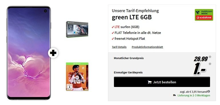 Samsung Galaxy S10 + Xbox One X Star Wars + NFL 20 Vodafone Allnet-Flat 6GB LTE 2