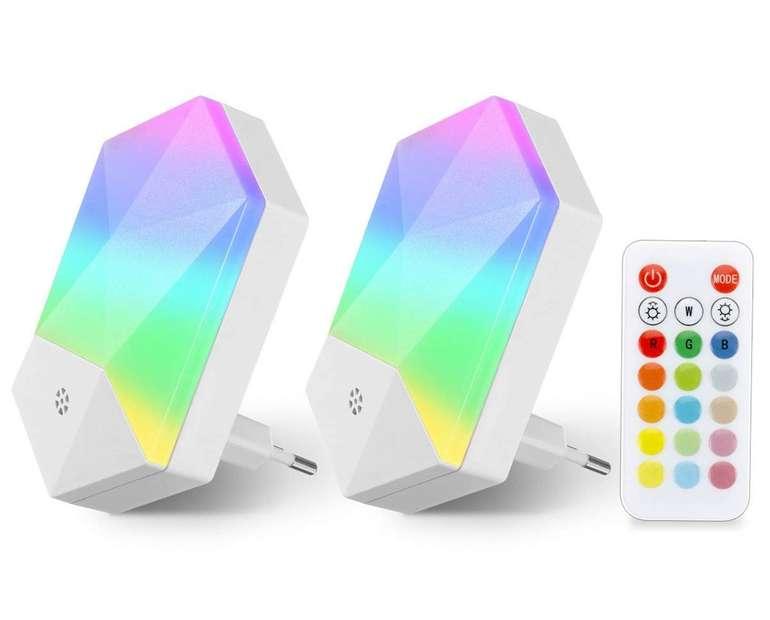 Kingso - Doppelpack LED Nachtlichter für die Steckdose (RGB, warmweiß, Fernbedienung) für 10,49€ inkl. Prime Versand