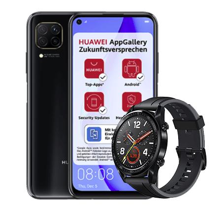 Huawei P40 Lite mit 128 GB + Watch GT (1€) + Blau Allnet Flat L mit 5GB LTE für 12,99€ mtl.