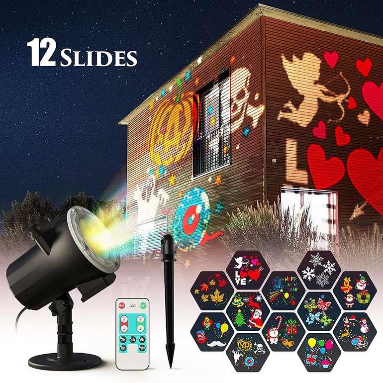 Ltteny LED Projektor mit 12 Motiven (IP65, Fernbedienung) für 19,59€ inkl. Prime Versand