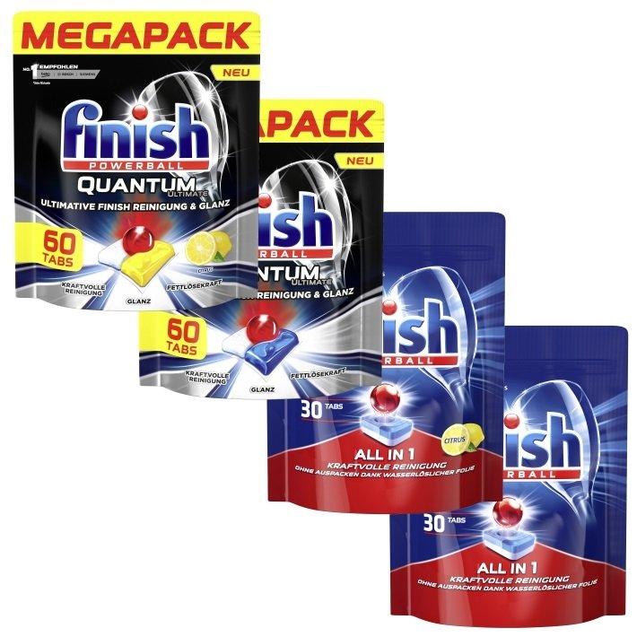 180er Pack Finish Ultimate Quantum All-In-1 Mixpack Spülmaschinentabs für 29,99€ (statt 44€)