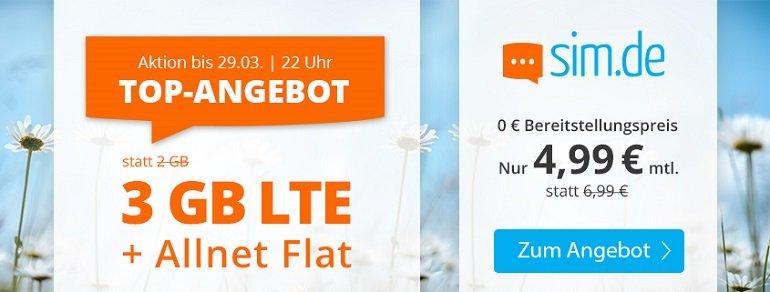 Sim.de o2 Allnet-Flat mit 3GB LTE Datenvolumen 4