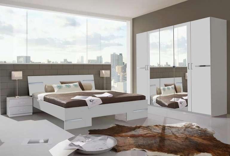 Schlafzimmer Anna in weiß (Bett, Schrank, Spiegel, 2x Nachtkästchen) für 429€ inkl. Versand (statt 478€)