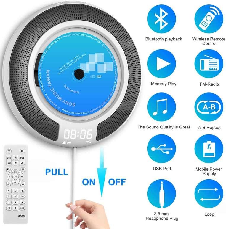 Aokey CD-Player (Bluetooth, FM-Radio, Wandmontage möglich) für 35,99€ inkl. Versand (statt 50€)