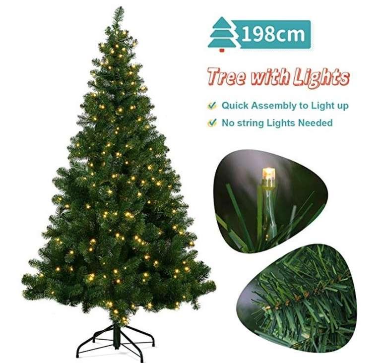 198cm großer künstlicher Ousfot Weihnachtsbaum mit 320er LED Lichterkette für 89,99€