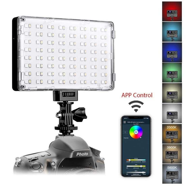 2 GVM Artikel günstiger bei Amazon dank Gutscheincode, z.B. RGB Kameralicht (App-Steuerung) für 45,59€