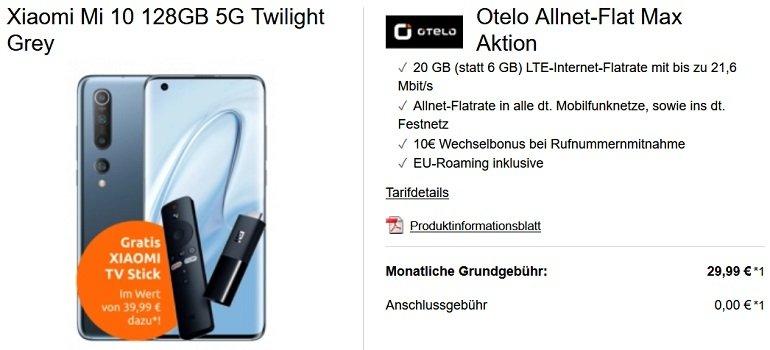 Xiaomi Mi 10 + Scooter 1S + Mi TV Stick Otelo Vodafone Allnet-Flat 20GB LTE 2