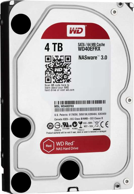 Interne Western Digital Red WD40EFRX 3,5-Zoll-Festplatte mit 4TB für 99,90€