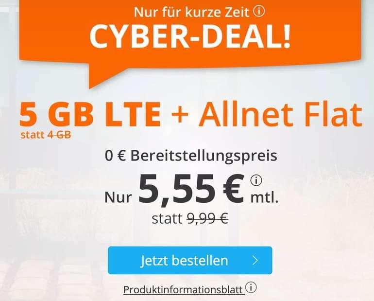 Sim.de o2 AllNet-Flat mit 5GB LTE Datenvolumen für 5,55€ mtl. (auch ohne Vertragslaufzeit!)