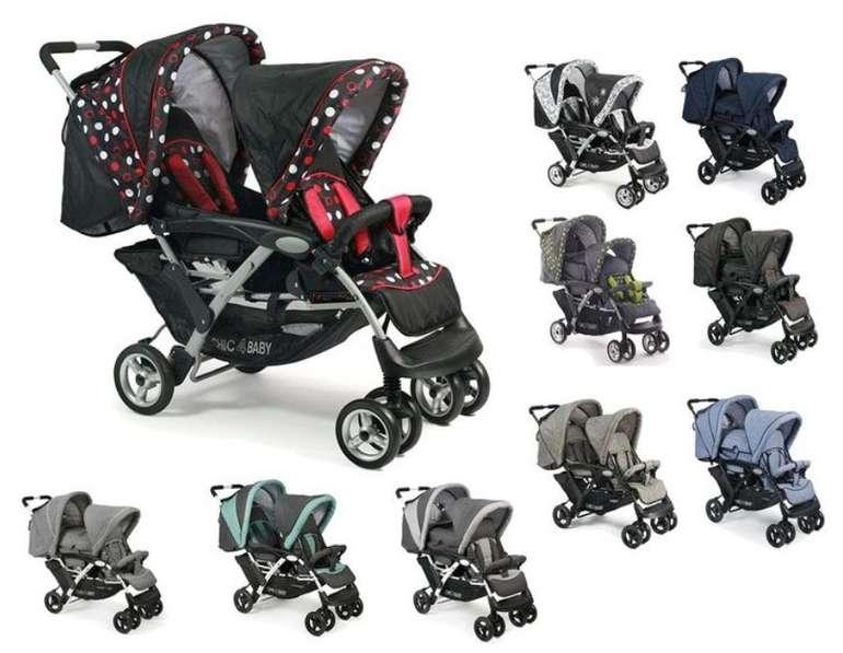 Chic 4 Baby Duo - Geschwisterwagen + Tragetasche und Regenschutzhaube für 189€ inkl. Versand